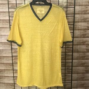 THREADS 4 THOUGHT Sheer Yellow, V Neck T Shirt, M